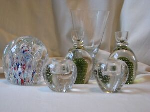 Glass Paperweights, Pear, Candleholders, Bulb. Vase