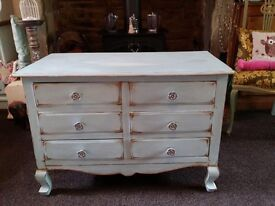 Shabby chic duck egg blue drawers