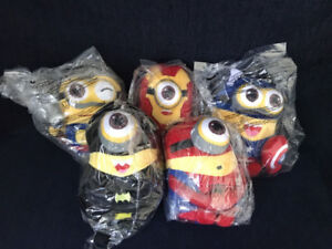 "Super Hero Minions 8"" Plush With Suction Cups Set Of 5"