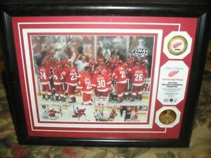2009 Detroit Red Wings commemorative photo 24K coated medallions