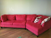 Red Fabric Sectional Sofa - Pet free home