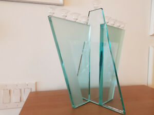 Fused and Frosted Glass Menorah signed