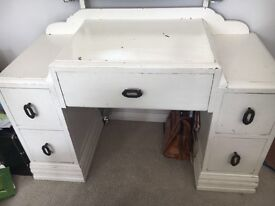 Beautiful shabby chic wooden dressing table and mirror