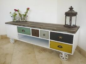 Industrial Side Cabinet with Wood Top- Brand New