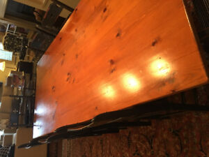 Solid Pine 8' Harvest Table with 8 Chairs