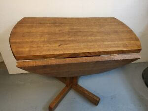 """36"""" drop leaf round table and 2 chairs with denim chair pads"""