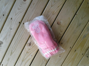 Brand New Pink Mittens with Breast cancer ribbon