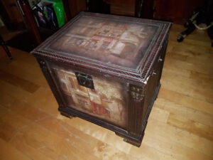 Shabby Chic storage box - Canvas-covered wood Cafe Paris motif,
