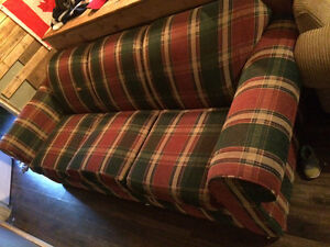 Bergundy plaid couch and matching chair