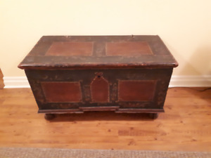 Painted European Travel Trunk - Circa 1840