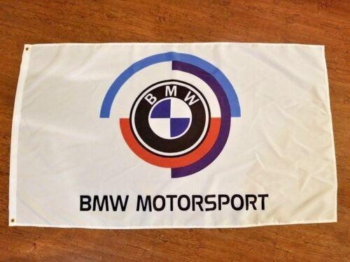 BMW MOTORSPORT FLAG BANNER 3X5FT GARAGE MANCAVE ENTHUSIAST WHITE