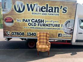 Wing back armchair in tartan fabric £75