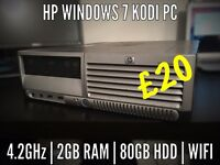 HP Windows 7 / KODI PC *WiFi* (4.2GHz, 2GB RAM, 80GB HDD)