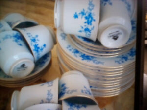 Vintage China Garden Dinner Plates Blue Flower Pattern