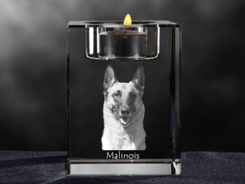 Malinois, crystal candlestick with dog, souvenir, Crystal Animals USA