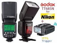 Godox TT685N 2.4G Wireless Flash System for Nikon - 1/8000s Speedlite + X1T-N Wireless iTTL Trigger