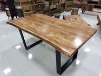 acacia table, black steel legs, limited quantity, style artemano