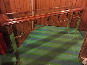 BRASS GLASS AND WOODEN SOFA TABLE GOOD CONDITION 60 inch long by