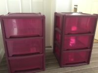 Pink chest of drawers x2