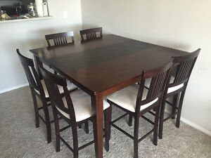 Bar Height Dining Set with 6 chairs and side table