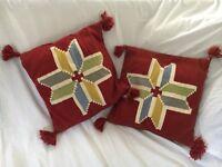 Pair of IKEA Cushions With Tassels : 50 X 50cm