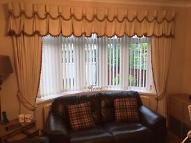 Two sets of Matching curtains and pelmets.