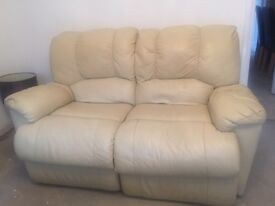 2 x two seater Cream leather settee