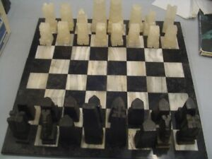 """Hand Carved Marble Chess Set 17.5"""" x 17.5"""" As Is"""