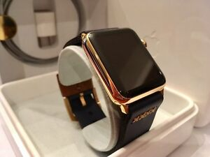 42MM 24K Gold Plated Apple Watch (Gen1) custom leather band West Island Greater Montréal image 1