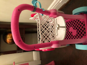 Hello Kitty shopping cart with doll seat
