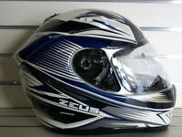 ZEUS Pearl White/Blue, Full Face Helmets (Size Large Only)