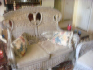 Beautiful old wicker set with cushions and stool