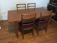 Mid-century dinning table + 4 chairs - g-plan style