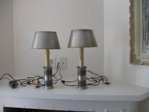 Pair of scandinavian pewter candlestick lamps