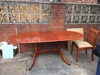Extendable Yew dining table and 4 chairs