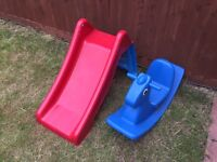 Toddlers slide and see saw