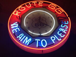 24+ Inch Vintage Route 66 TriColour neon with large clock