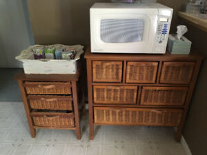 Wood shelving with wicker drawers