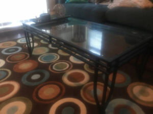 Glass top coffee table and side table from The Brick