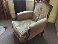 Old large extremely comfortable sturdy armchair Louis style reproduction