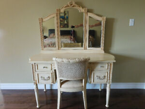 Beautiful Vanity with Tri-Fold Beveled Mirror & Matching Chair