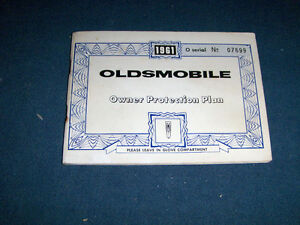 1961 OLDSMOBILE OWNER PROTECTION PLAN-GENERAL MOTORS-VINTAGE!