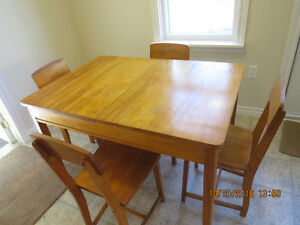 Antique Drop leaf table and four chairs