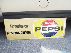 LOVELY 1960'S PEPSI COLA TIN ADVERTISING STORE KICKPLATE