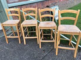 Set Of 4 pine kitchen breakfast bar stools chairs