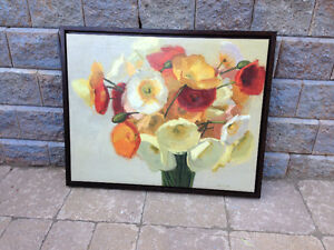 Framed Canvas Poppy in Vase Art