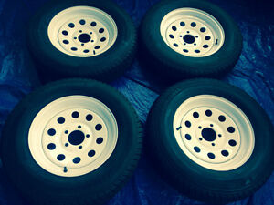 5 Stud Excellent Condition 205/75/15 Trailer Tires on Rims
