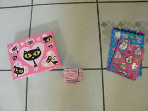 Various Hello Kitty, Bratz, and Valentine stuff