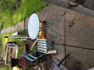 Folding metal bistro table and one chair