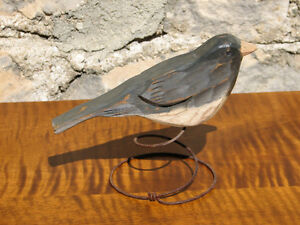 Hand Carved and Painted Wooden Folk Art Junco Bird on Wire